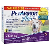 Pe tArmor Plus Pet Insect Treatment for Dogs - 45 to 88lbs - 6ct
